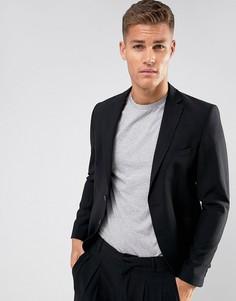 Черный приталенный пиджак из легкого крепа ASOS - Черный