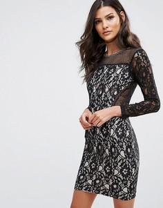 Платье мини с длинными рукавами и кружевной отделкой AX Paris - Мульти