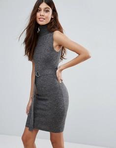 Облегающее платье мини с высоким воротом Ax Paris - Серый