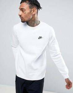 Белый свитшот с круглым вырезом и логотипом-галочкой Nike Club 804340-100 - Белый