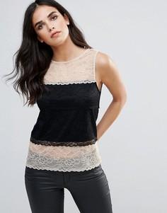 Кружевная блузка со вставками AX Paris - Черный