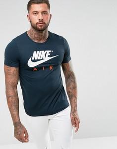 Темно-синяя футболка с логотипом Nike Air 847511-454 - Темно-синий