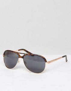 Матовые черепаховые солнцезащитные очки-авиаторы с золотистыми металлическими дужками ASOS - Коричневый