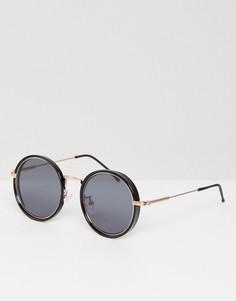 Черные круглые солнцезащитные очки с золотистой вставкой ASOS - Черный