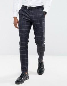 Клетчатые суперзауженные брюки в крапинку ASOS Wedding - Темно-синий