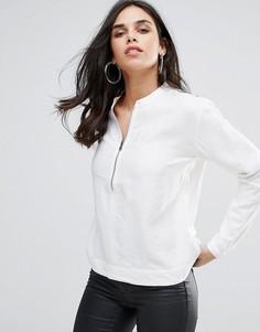 Саржевая блузка на молнии G-Star Core - Белый
