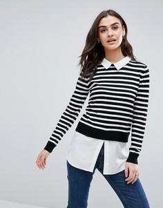 Джемпер с нижним слоем в стиле рубашки QED London - Черный
