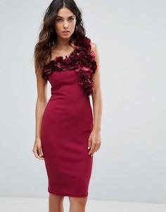 Платье миди из крепа на одно плечо с цветочной отделкой Club L - Розовый