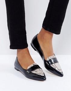 Туфли на плоской подошве с острым носком и змеиной отделкой London Rebel - Черный