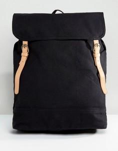 Черный парусиновый рюкзак с отделкой из искусственной кожи ASOS - Серый