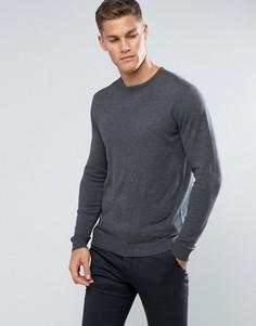 Трикотажный джемпер с круглым вырезом из смеси хлопка и шелка Selected Homme - Серый
