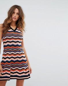 Трикотажное платье А-силуэта с добавлением шерсти и зигзагообразным узором M Missoni - Оранжевый