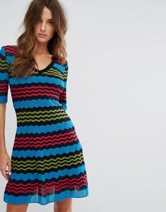 Трикотажное платье А-образного силуэта с короткими рукавами из пряжи с добавлением шерсти M Missoni - Мульти