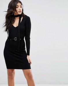 Платье с чокером и поясом Lipsy - Черный