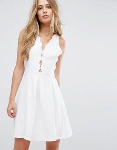 Приталенное платье со свободной юбкой Adelyn Rae Serena - Белый