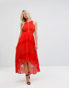 Платье макси с кружевными вставками Adelyn Rae Irina - Оранжевый