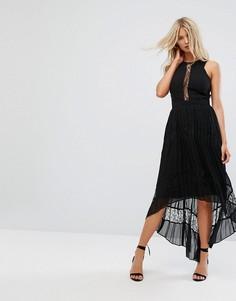 Платье макси с кружевными вставками и плиссированной юбкой Adelyn Rae Irina - Черный