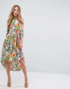 Платье с вырезами на плечах и асимметричным подолом Adelyn Rae Lianna - Мульти