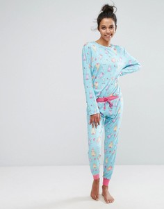 Пижама с принтом кота Chelsea Peers - Мульти