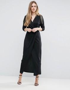 Фактурное платье макси с запахом Vila - Черный