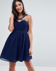 Платье мини с декоративной отделкой и бретелями Little Mistress - Темно-синий