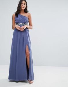 Платье макси на одно плечо с отделкой на талии Little Mistress - Фиолетовый