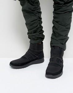 Черные высокие кроссовки-ботинки с удлиненными шнурками ASOS - Черный
