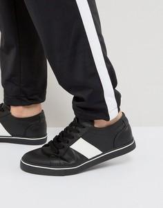 Черные кроссовки в стиле ретро с белыми полосками ASOS - Черный