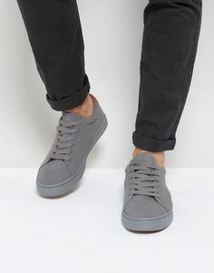 Серые замшевые кроссовки на шнуровке ASOS - Серый