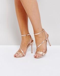 Асимметричные босоножки на каблуке Miss KG - Медный