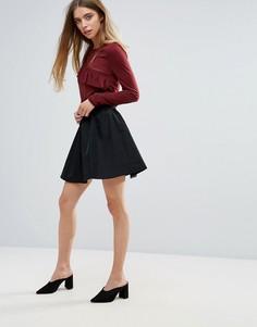 Расклешенная мини-юбка First & I - Черный