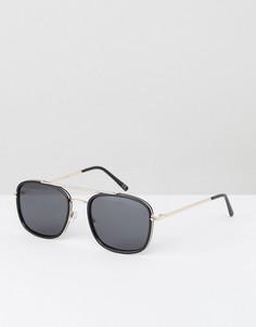 Черно-золотистые солнцезащитные очки-авиаторы с плоскими стеклами ASOS - Черный