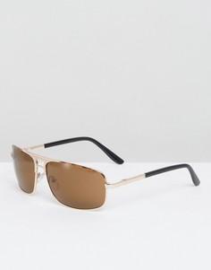 Солнцезащитные очки-авиаторы в золотистой оправе с черепаховой отделкой ASOS - Коричневый