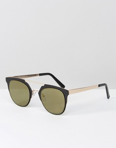 Черные круглые солнцезащитные очки с золотистыми стеклами ASOS - Черный