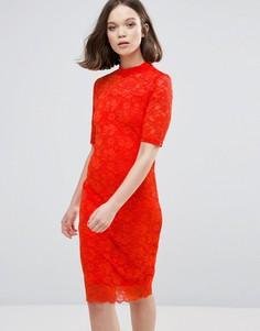 Кружевное платье миди с рукавами 3/4 Ichi - Красный