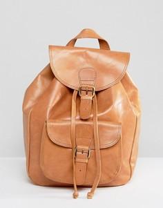 Кожаный рюкзак с карманом спереди ASOS - Коричневый