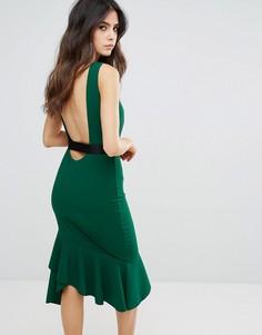 Платье-футляр с баской по краю и контрастным поясом City Goddess - Зеленый
