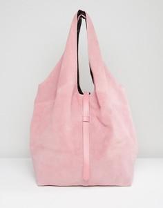 Замшевая сумка на плечо ASOS - Розовый