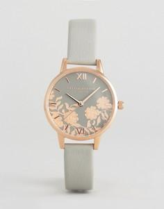 Часы с серым кожаным ремешком Olivia Burton - Серый