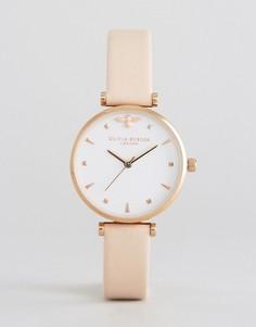Часы с кожаным ремешком телесного цвета Olivia Burton - Розовый