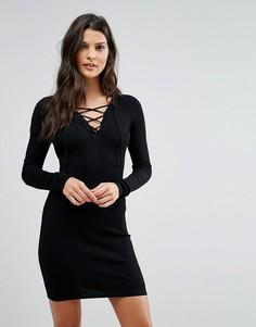 Платье в рубчик со шнуровкой Brave Soul - Черный