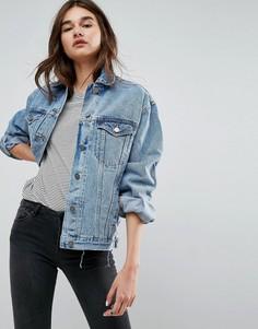 Выбеленная синяя джинсовая куртка герлфренд ASOS - Синий