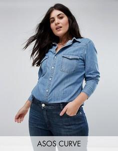 Синяя джинсовая рубашка ASOS CURVE - Синий