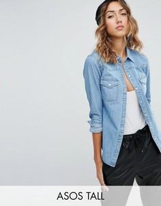 Синяя джинсовая рубашка приталенного кроя ASOS TALL - Синий