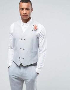 Серый жилет скинни с принтом на подкладке ASOS Wedding - Серый