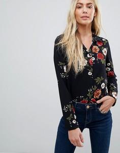 Блузка с цветочным узором Brave Soul - Темно-синий