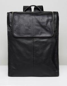 Черный кожаный рюкзак на молнии сверху ASOS - Черный