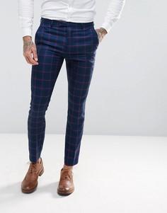 Красные облегающие брюки в клетку Harry Brown - Синий