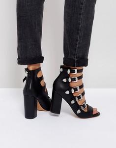 Босоножки на каблуке с ремешками в стиле вестерн ASOS PISTON - Черный