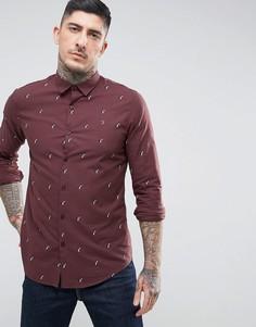 Бордовая узкая рубашка с принтом Farah Rachman - Красный